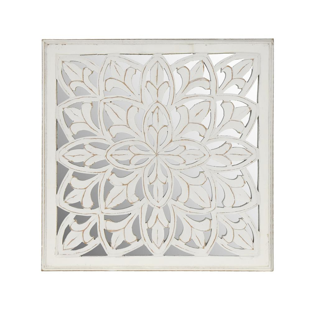 Fetco Meris White Medallion Mirror X47011717 | Products In Throughout Medallion Accent Mirrors (Image 10 of 20)
