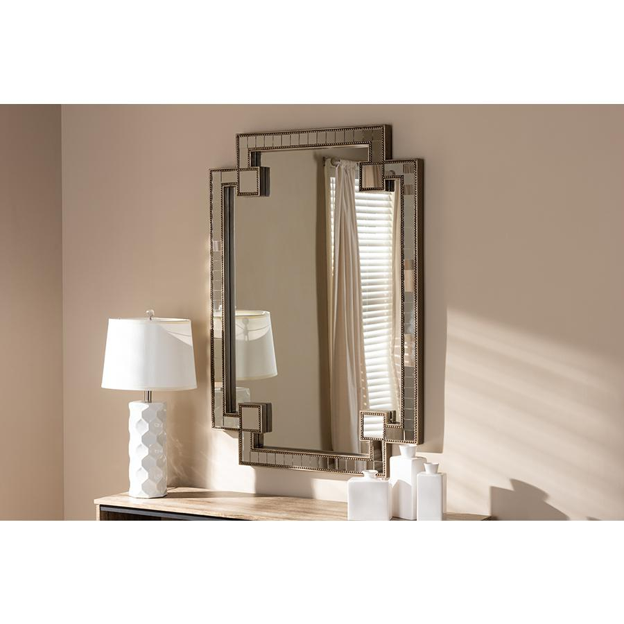 Fiorella Modern And Contemporary Antique Silver Finished Studded Accent  Wall Mirrorbaxton Studio Within Elevate Wall Mirrors (Image 13 of 20)