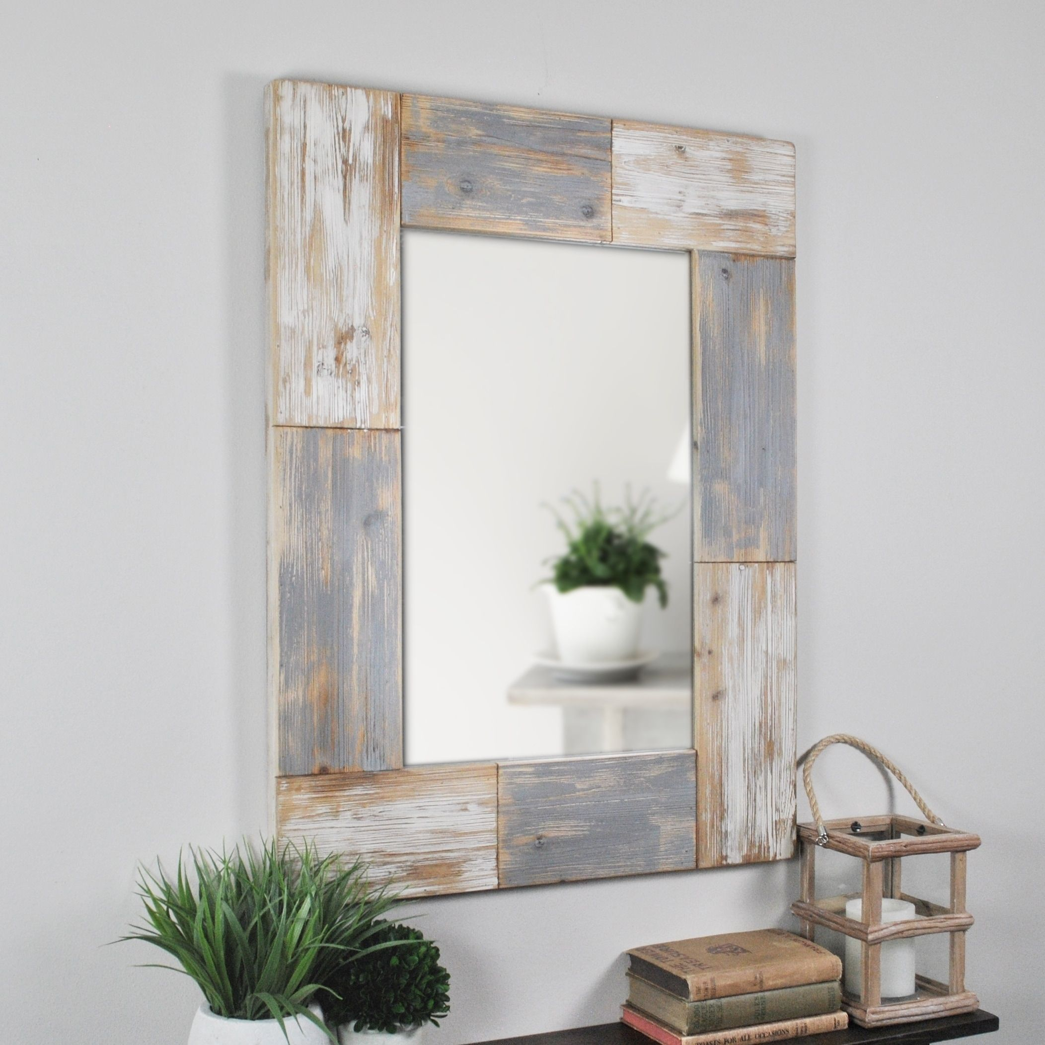 Firstime Grey Wood Mason Planks Wall Mirror | Products Inside Kist Farmhouse Wall Mirrors (View 9 of 20)