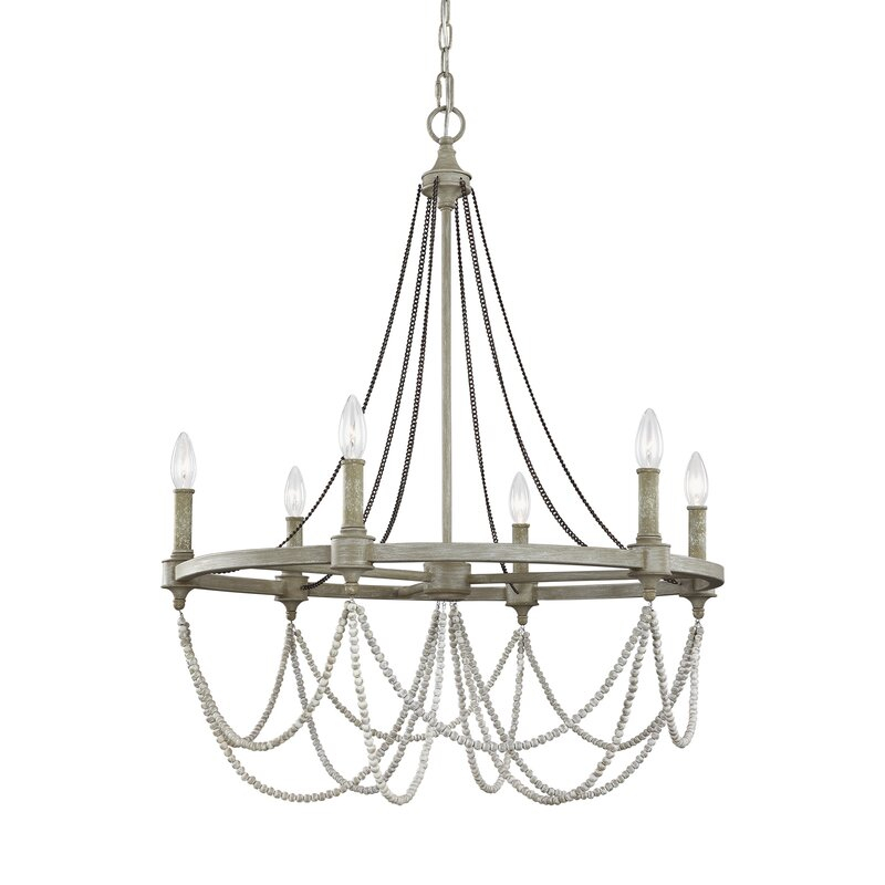 Fitzgibbon 6 Light Candle Style Chandelier Inside Diaz 6 Light Candle Style Chandeliers (Image 13 of 20)