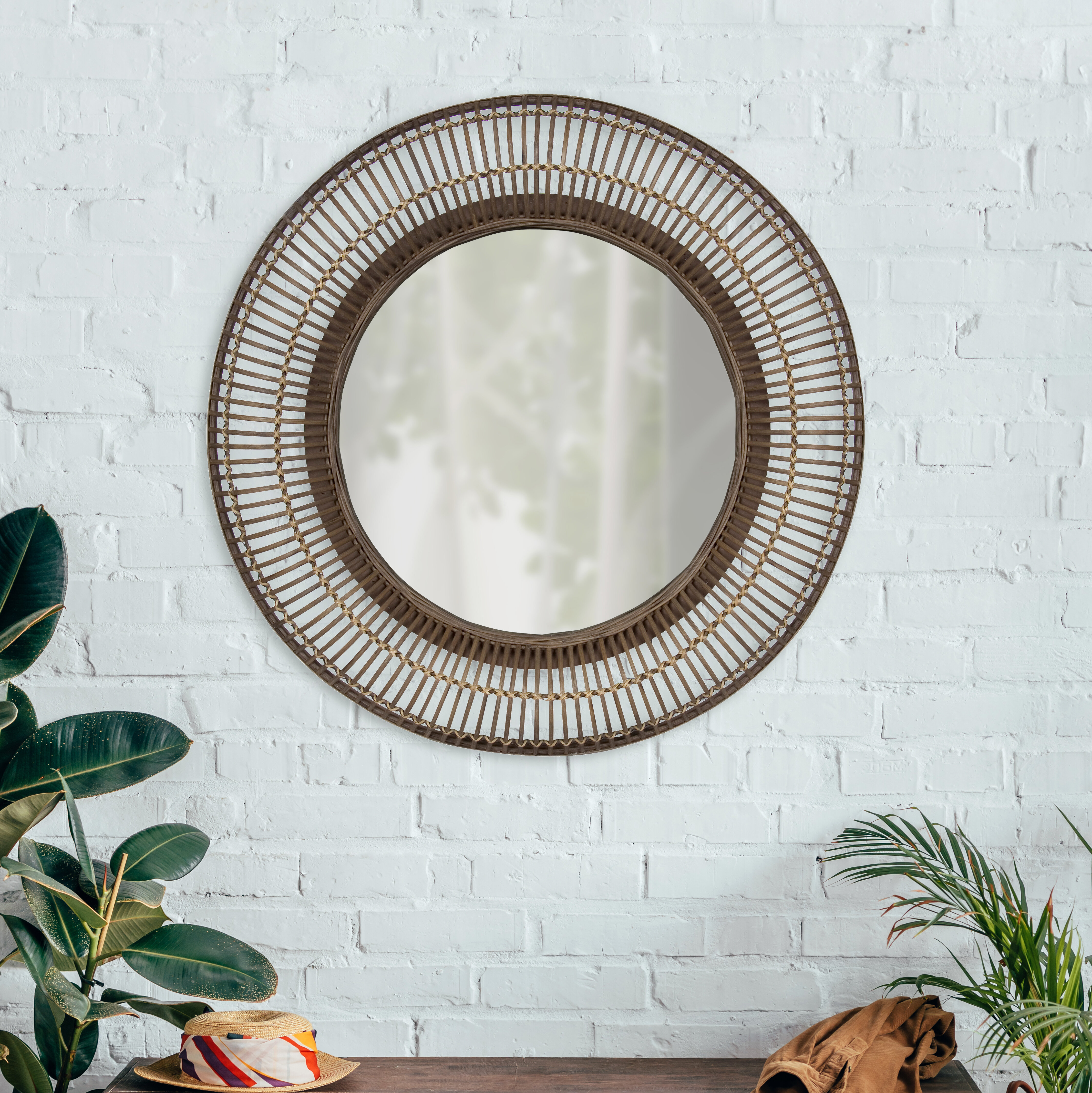 Fleeton Round Rattan Frame Accent Wall Mirror Regarding Mcnary Accent Mirrors (View 15 of 20)