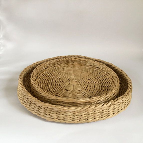 Foodie Gift Farmhouse Decor Round Storage Basket Bedside In Rustic Coffee Tables With Wicker Storage Baskets (Image 9 of 25)