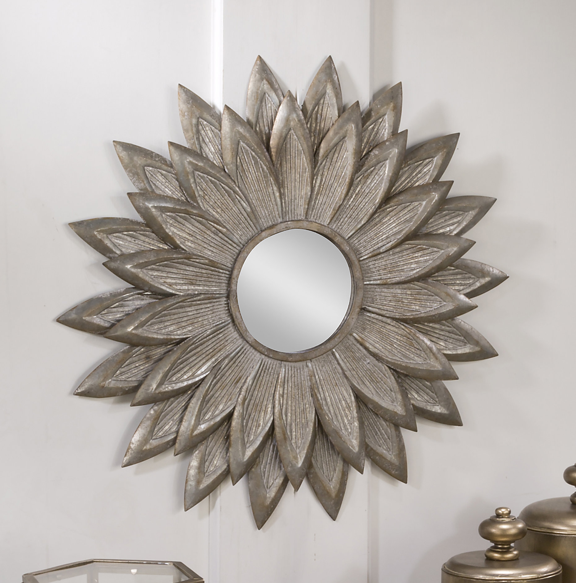 Fossett Sunflower Eclectic Accent Mirror Throughout Newtown Accent Mirrors (Image 4 of 20)