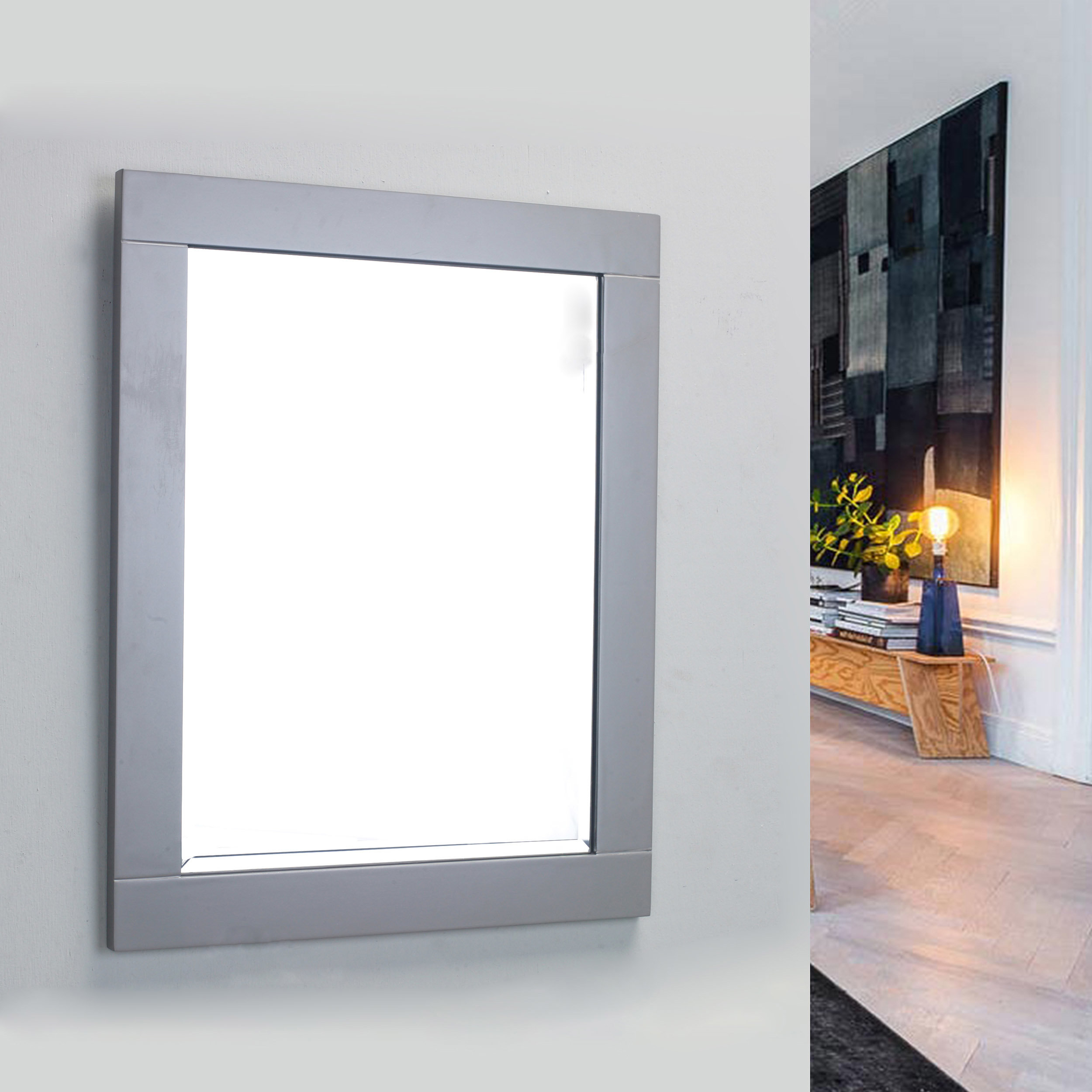 Framed Bathroom Wall Mirrors | Wayfair Within Caja Rectangle Glass Frame Wall Mirrors (View 12 of 20)