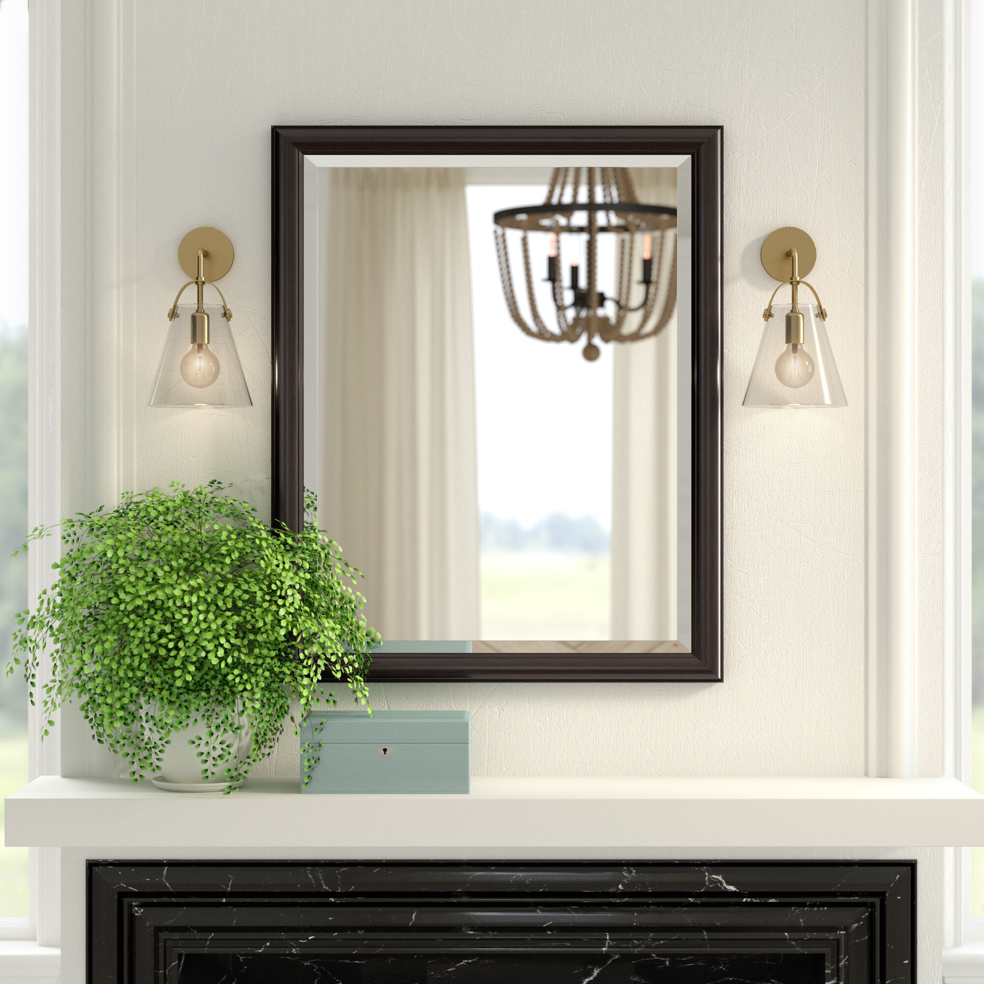 Framed Beveled Wall Mirror Throughout Rectangle Pewter Beveled Wall Mirrors (Image 11 of 20)