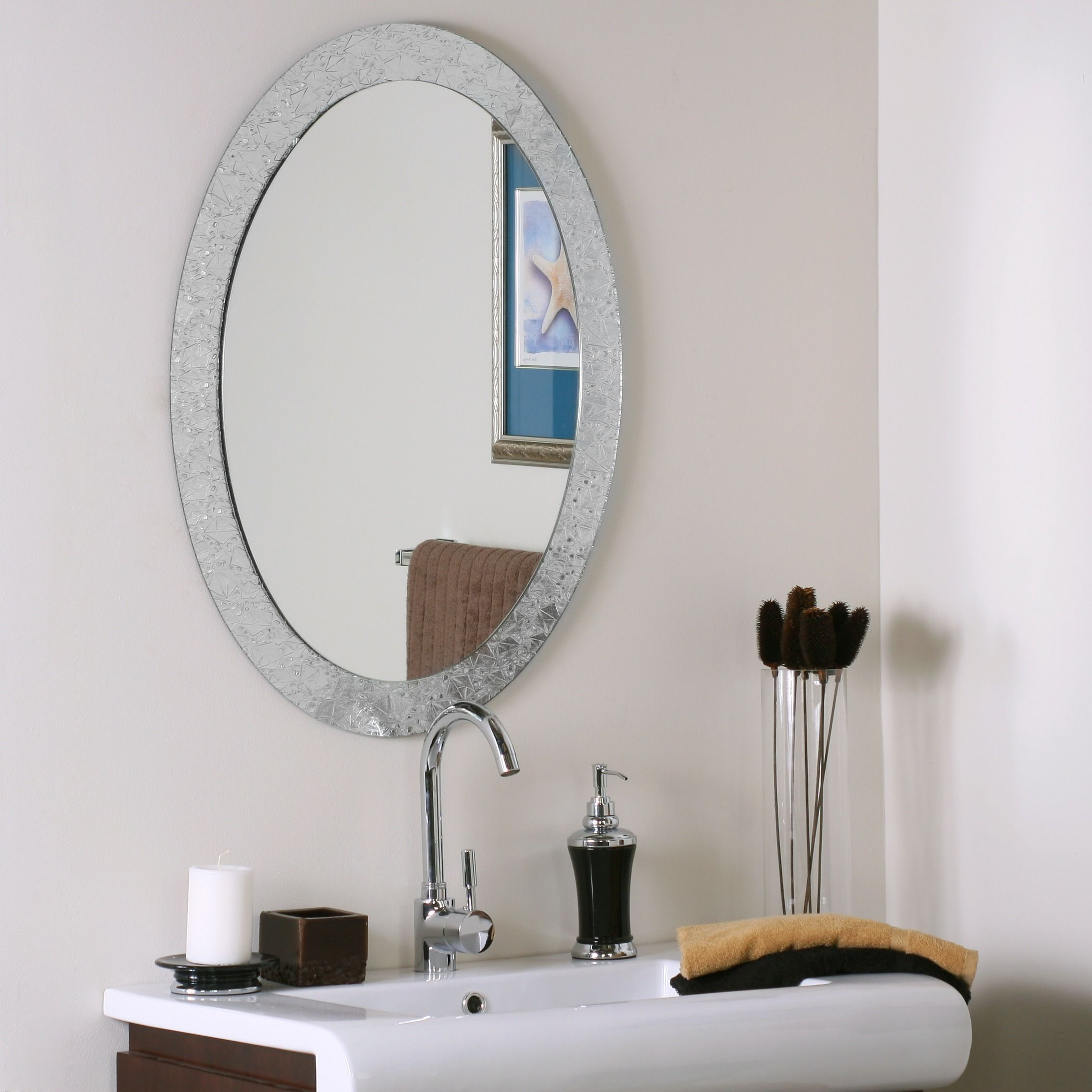 Frameless Designer Wall Mirror, Silver, Decor Wonderland Inside Logan Frameless Wall Mirrors (View 11 of 20)