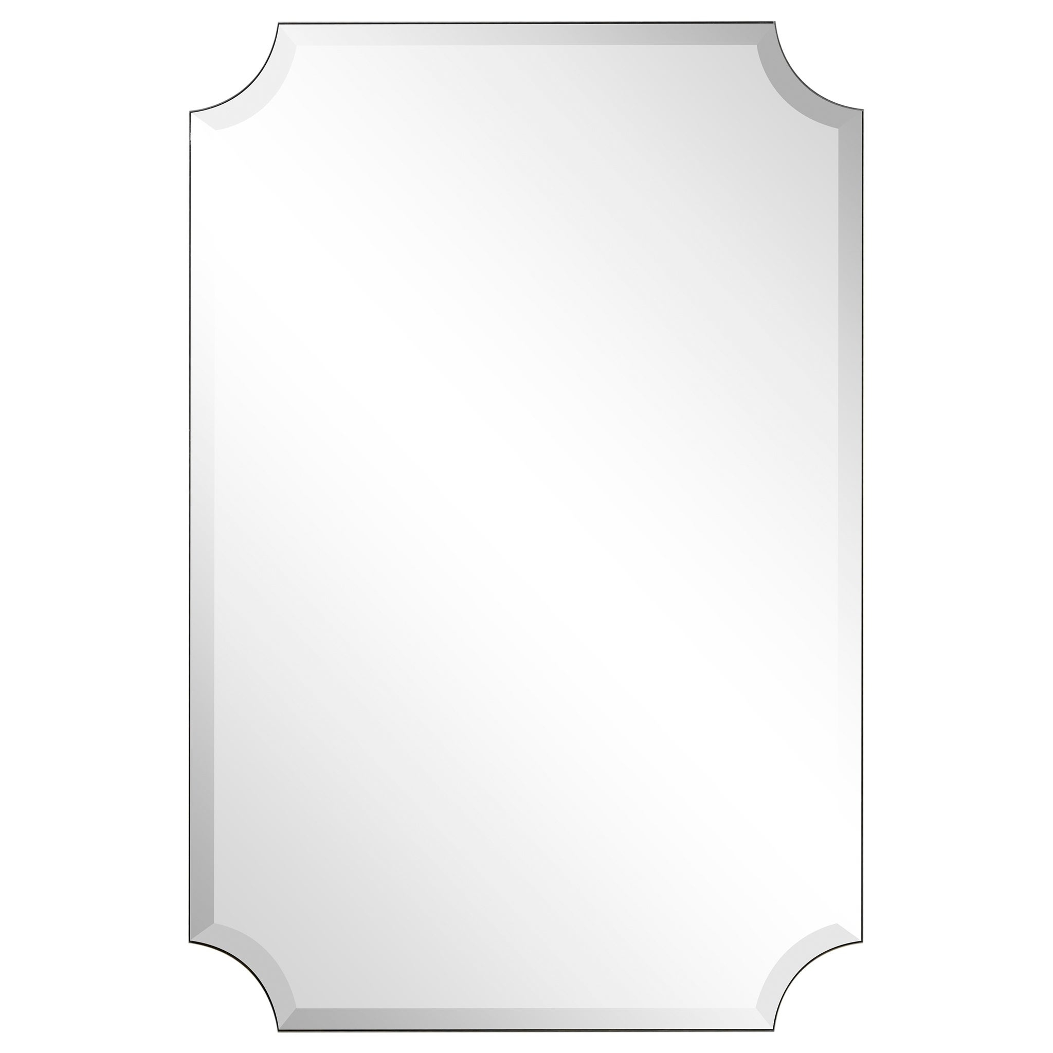 "Frameless Rectangle Scalloped Beveled Mirror, Bathroom, Vanity, Bedroom  Mirror,1"" Beveled Edge – Clear With Regard To Reign Frameless Oval Scalloped Beveled Wall Mirrors (Image 8 of 20)"