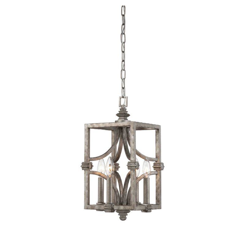 Freeburg 4 Light Lantern Square / Rectangle Pendant For Armande 4 Light Lantern Drum Pendants (View 7 of 25)
