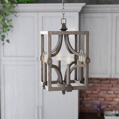 Freeburg 4 Light Square/rectangle Pendant In 2019 For Destrey 3 Light Lantern Square/rectangle Pendants (View 14 of 20)