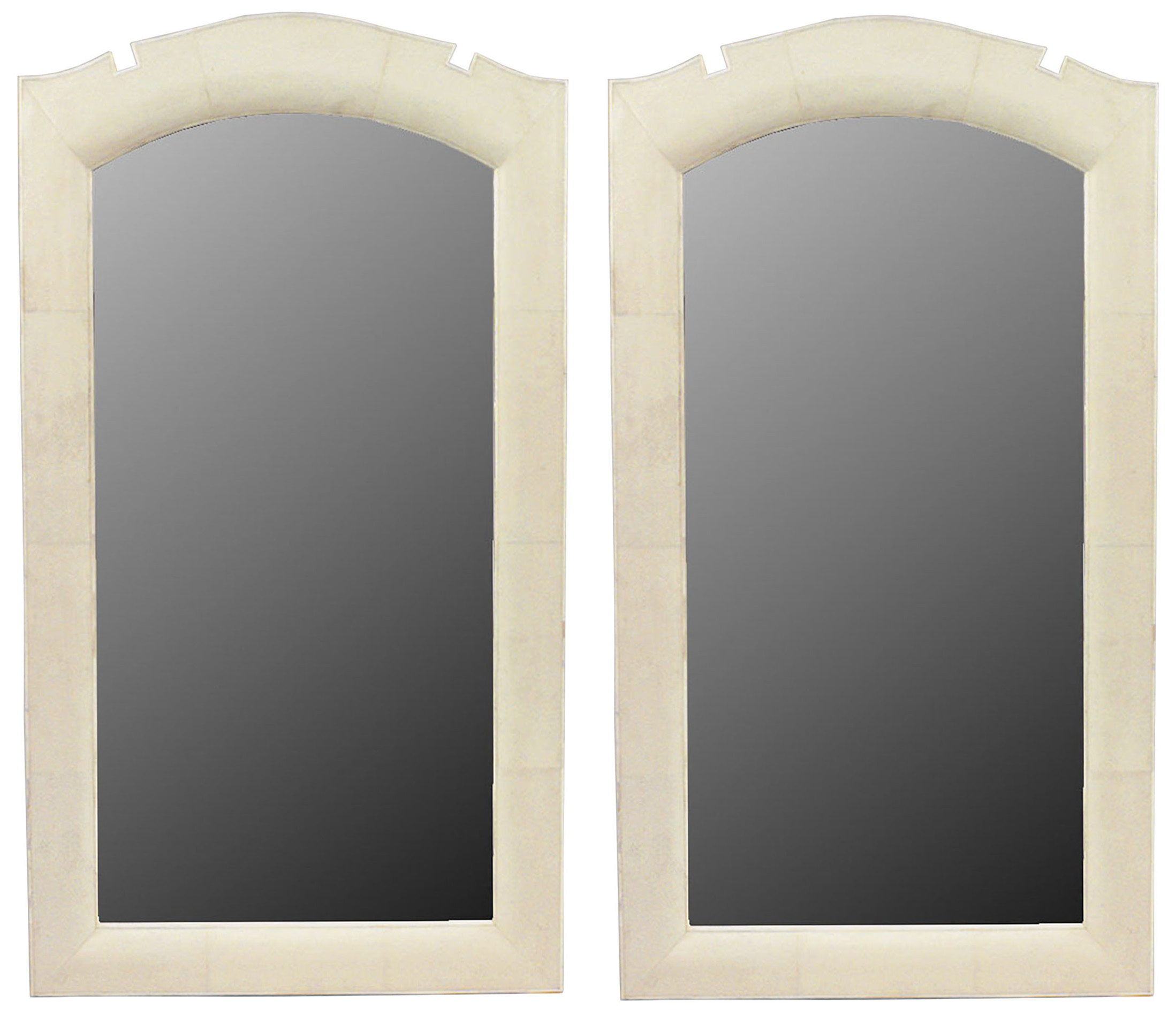 French Art Deco Style Beige Shagreen Wall Mirrors | Newel With Regard To Arch Top Vertical Wall Mirrors (Image 13 of 20)