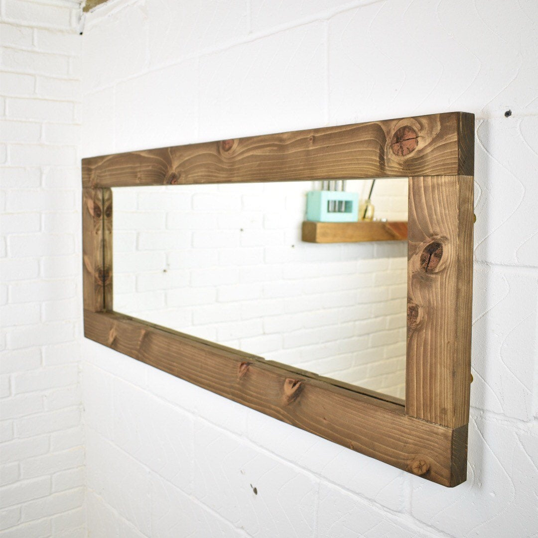 Full Length Wood Mirror – Rustic Handmade Farmhouse Country Style Solid  Chunky Wooden Feature Piece Fireplace Mirror Wide Wall Hanging Long Within Handcrafted Farmhouse Full Length Mirrors (Image 11 of 20)