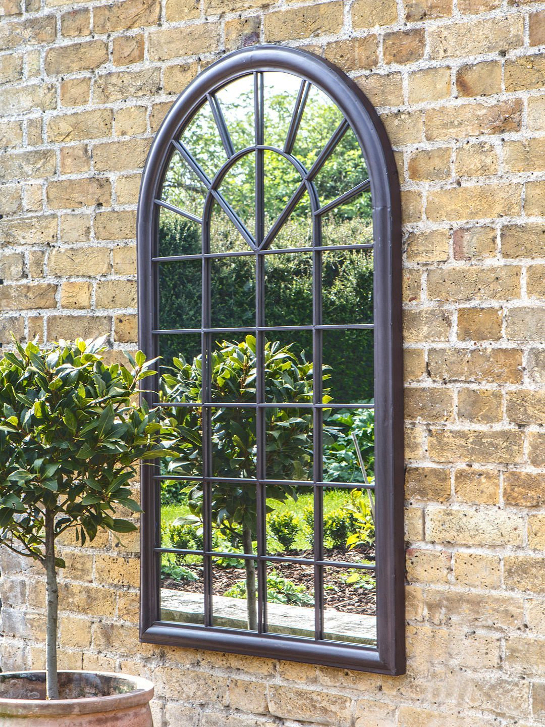 Fura Outdoor Garden Wall Window Style Arched Mirror, 131 X 75Cm, Antique  Bronze Pertaining To Metal Arch Window Wall Mirrors (Image 8 of 20)
