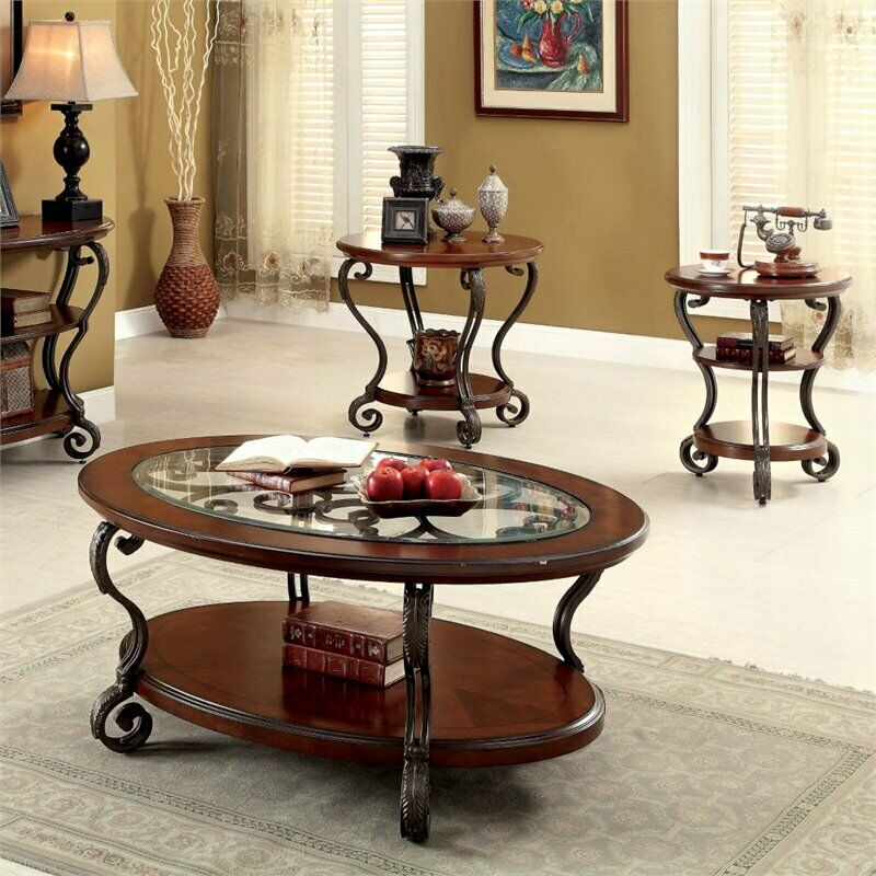 Furniture Of America Azea 2 Piece Coffee Table Set In Brown Cherry Within Furniture Of America Tellarie Contemporary Chrome Coffee Tables (View 10 of 25)
