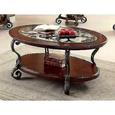 Furniture Of America Cohler Elegant Glass Top Oval Coffee Intended For Furniture Of America Crescent Dark Cherry Glass Top Oval Coffee Tables (Image 21 of 50)