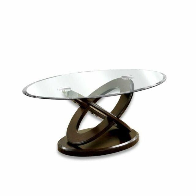 Furniture Of America Darbunic Glass Top Coffee Table In Dark Walnut With Furniture Of America Crescent Dark Cherry Glass Top Oval Coffee Tables (Image 25 of 50)
