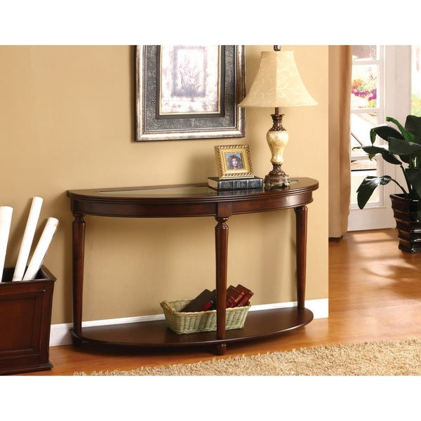 Furniture Of America Dark Cherry Finish Wood Glass Crescent Console Table With Regard To Furniture Of America Crescent Dark Cherry Glass Top Oval Coffee Tables (Image 26 of 50)
