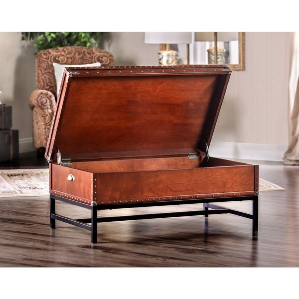 Furniture Of America Dravens Industrial Trunk Style Coffee Inside Dravens Industrial Cherry Coffee Tables (Image 11 of 25)