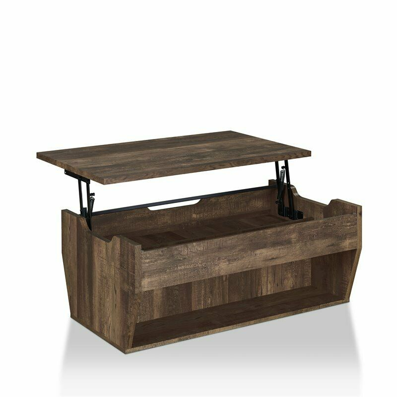 Furniture Of America Edwards Rustic Coffee Table In Reclaimed Oak Regarding Furniture Of America Charlotte Weathered Oak Glass Top Coffee Tables (Image 16 of 50)