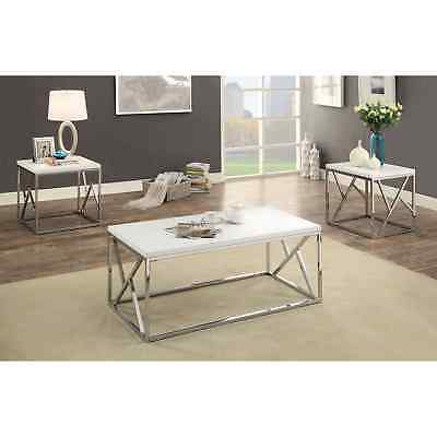 Furniture Of America Kuzi Contemporary 3 Piece Chrome/white Coffee And End Table Pertaining To Furniture Of America Tellarie Contemporary Chrome Coffee Tables (View 21 of 25)