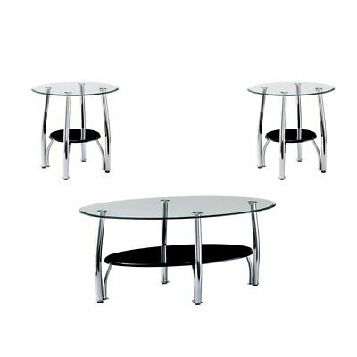 Furniture Of America Seetle 3 Piece Glass Coffee Table Set In Chrome | Ebay Inside Furniture Of America Tellarie Contemporary Chrome Coffee Tables (View 9 of 25)
