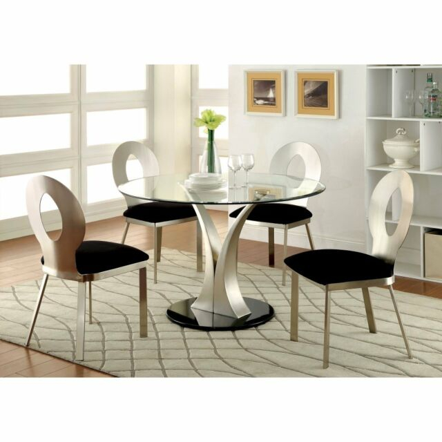 Furniture Of America Sparling Contemporary Pedestal Dining Table, Small Inside Furniture Of America Tellarie Contemporary Chrome Coffee Tables (View 17 of 25)