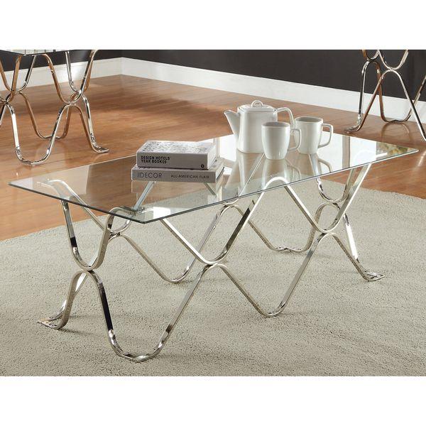 Furniture Of America Tellarie Contemporary Chrome Coffee Inside Furniture Of America Tellarie Contemporary Chrome Coffee Tables (Image 16 of 25)