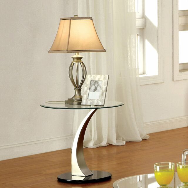 Furniture Of America Velma Satin Plated End Table With Clear Silver N/a For Carmella Satin Plated Coffee Tables (View 13 of 50)
