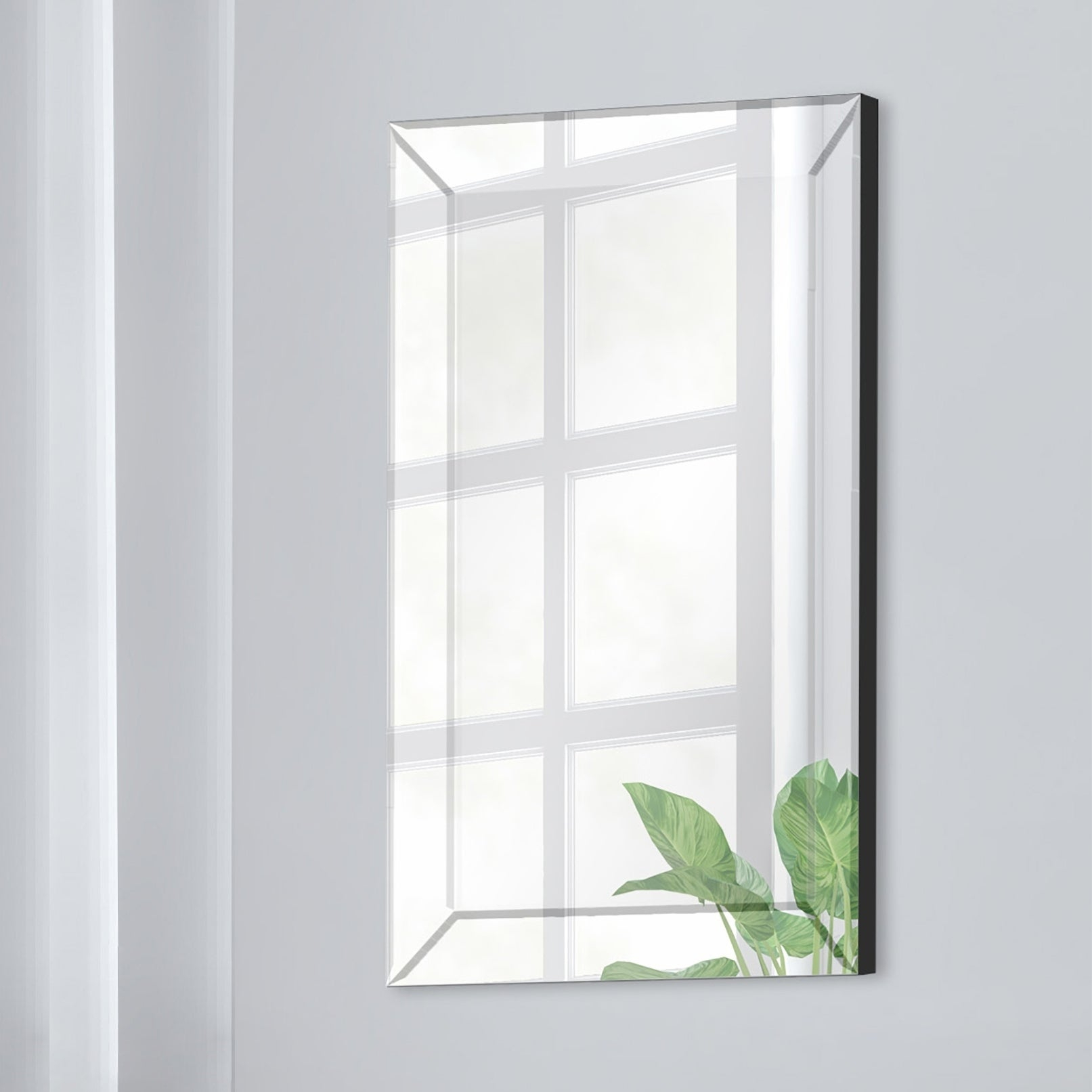 Gallery Solutions Mirror Framed Beveled Wall Accent Mirror – Silver Inside Glam Beveled Accent Mirrors (Image 2 of 20)