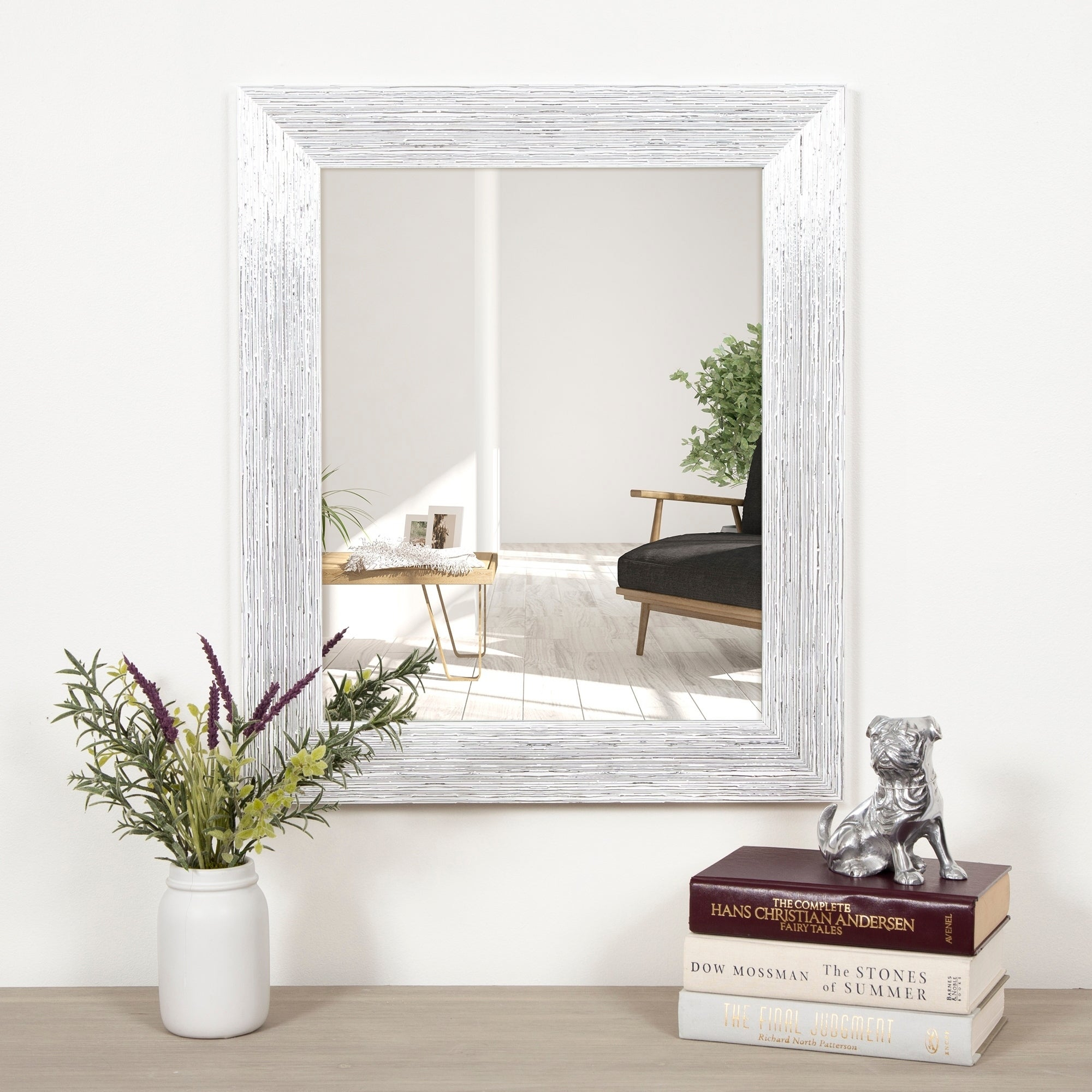 Gallery Solutions Textured White And Silver Framed Accent Wall Mirror With Accent Wall Mirrors (Image 10 of 20)