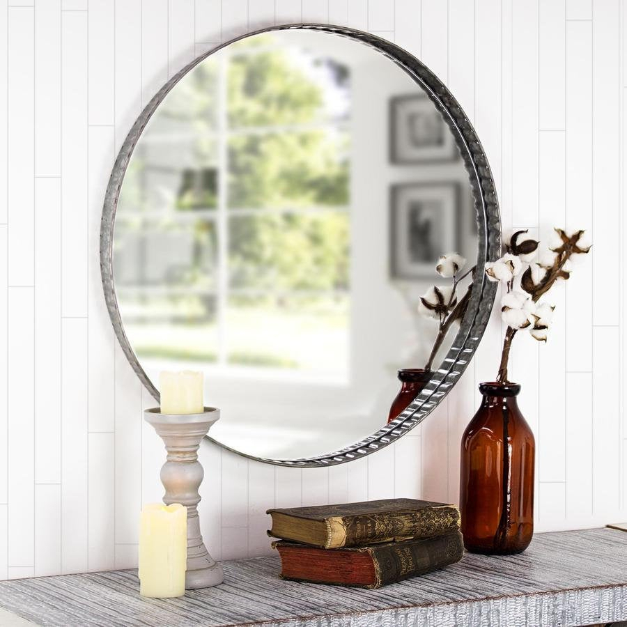 Galvanized Metal Round Wall Mirror – Farmhouse Industrial Galvanized Metal Round Wall Mirror – Metalwork Edges Round Wall Mirror Etsy Mirror For Round Galvanized Metallic Wall Mirrors (View 10 of 20)