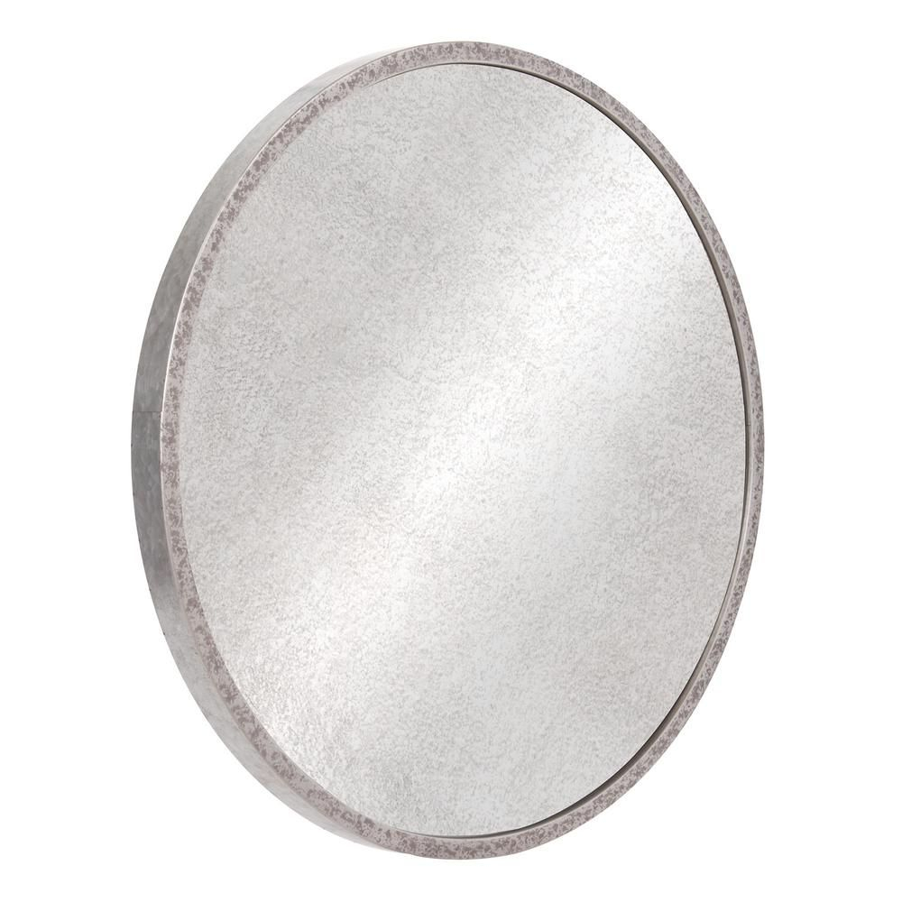 Galvanized Round Galvanized Silver Metal Antiqued Wall Intended For Round Galvanized Metallic Wall Mirrors (View 12 of 20)