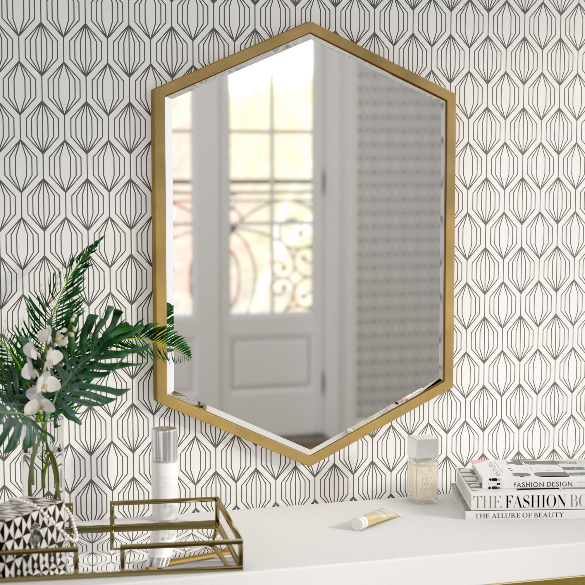 Gia Hexagon Wall Mirror | Wayfair With Regard To Gia Hexagon Accent Mirrors (Photo 16 of 20)