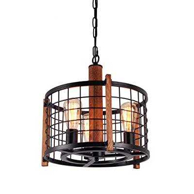 Giluta Rustic Round Chandelier Metal Cage Hanging Pendant Light, Adjustable  Industrial Drum Chandelier Antique Farmhouse Ceiling Lighting Fixture 3 For Farrier 3 Light Lantern Drum Pendants (Image 19 of 25)