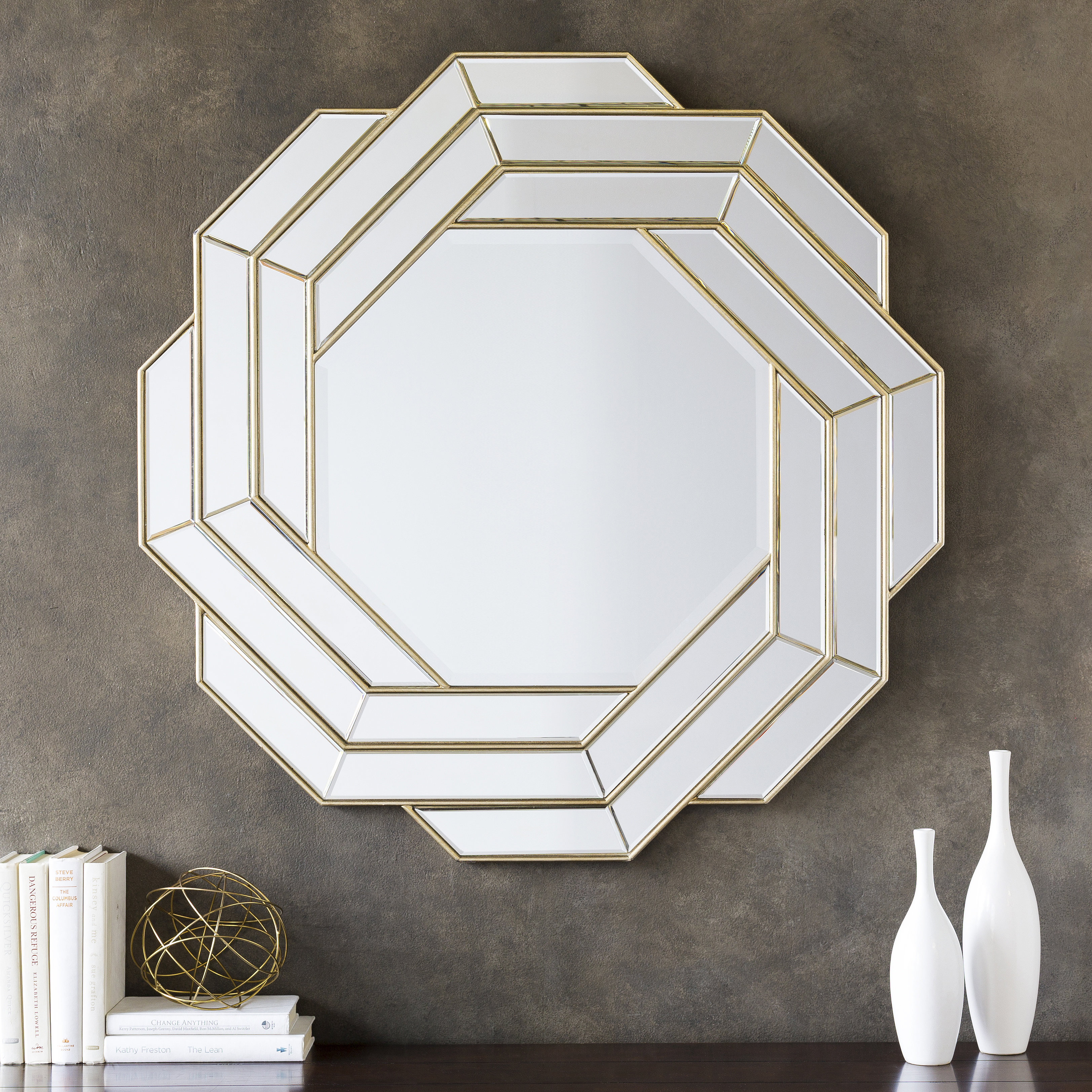 Glam Beveled Accent Mirror Pertaining To Glam Beveled Accent Mirrors (Image 8 of 20)