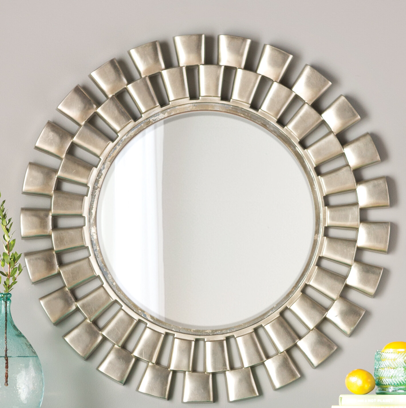 Glam Beveled Accent Mirror Regarding Josephson Starburst Glam Beveled Accent Wall Mirrors (Image 5 of 20)