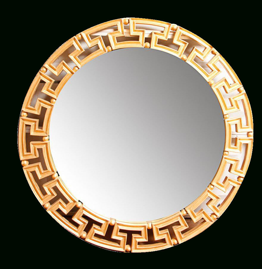 Glam Gold Greek Key Round Wall Mirror | Ideas For The House Inside Astrid Modern & Contemporary Accent Mirrors (View 11 of 20)