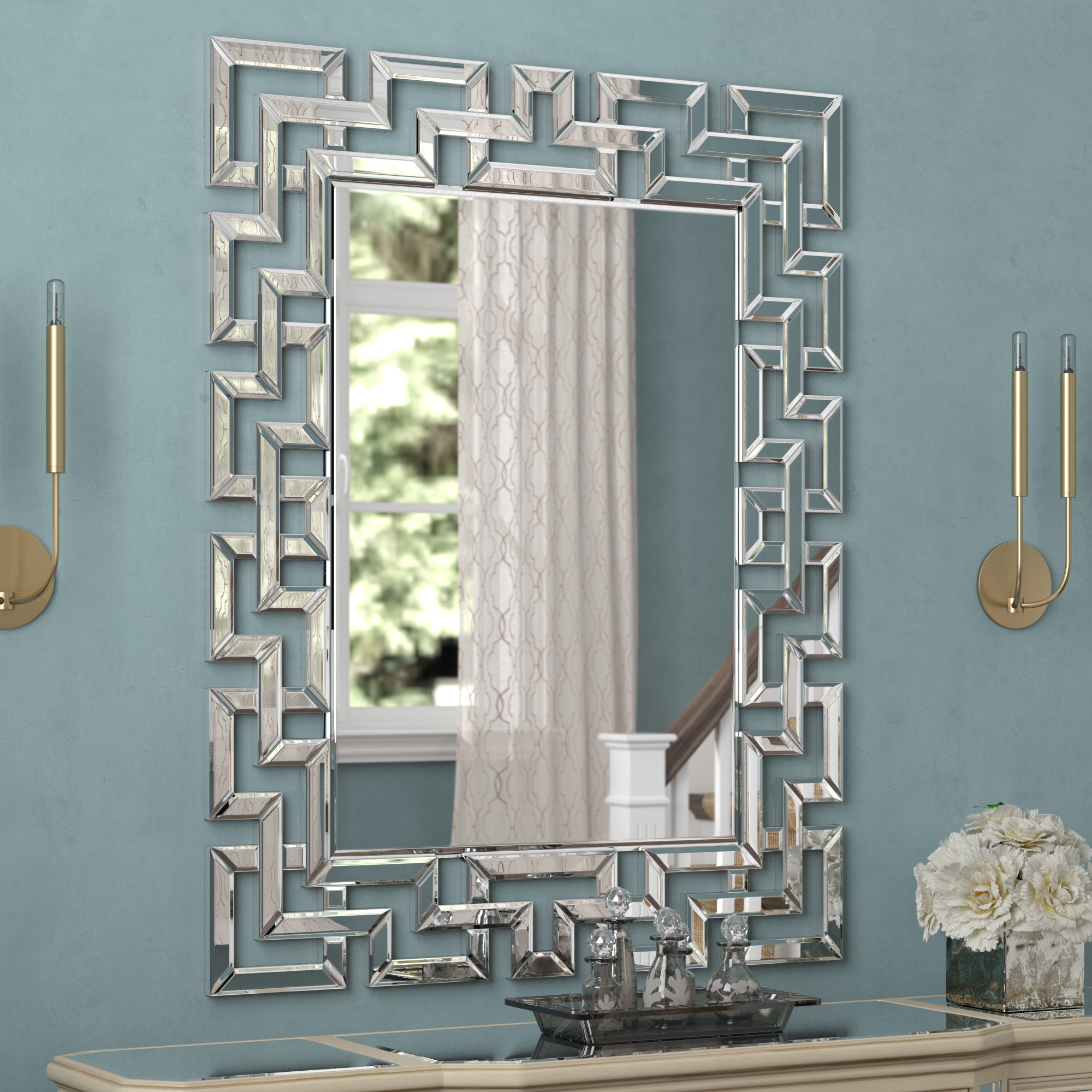Glam Rectangular Accent Wall Mirror Regarding Rectangle Ornate Geometric Wall Mirrors (Photo 6 of 20)