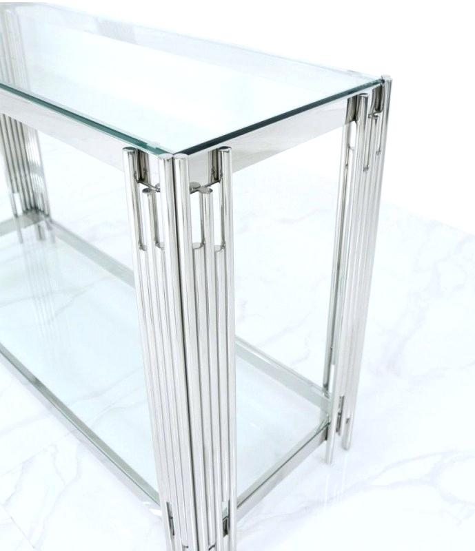 Glass And Chrome Console Table – Barbrazuniga (View 24 of 25)
