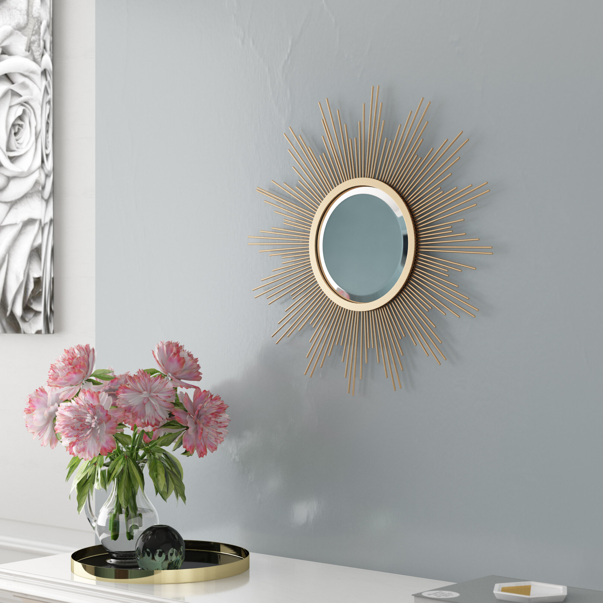 Glasser Starburst Modern & Contemporary Beveled Wall Mirror Intended For Dandre Wall Mirrors (Image 5 of 20)