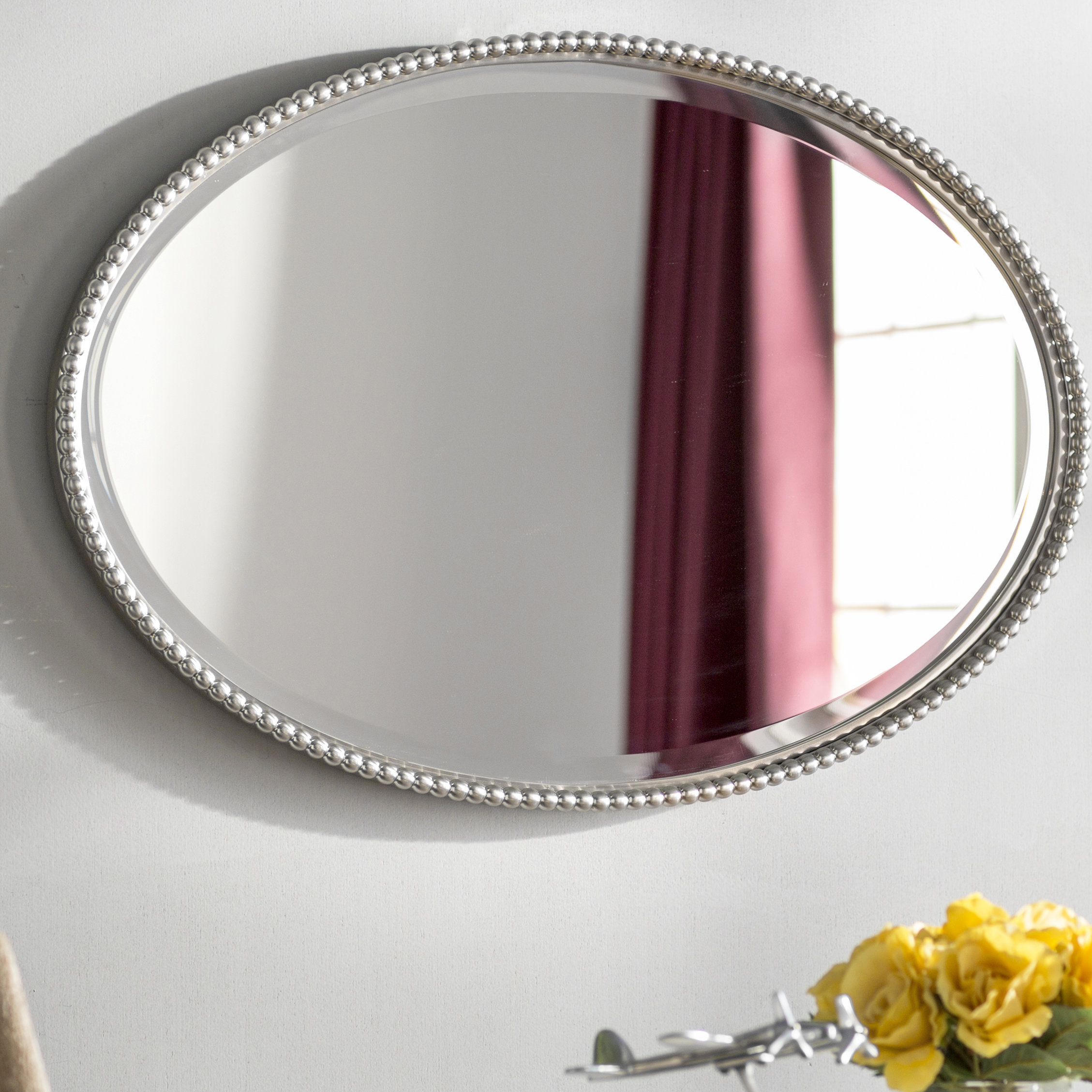 Glen View Beaded Oval Traditional Accent Mirror & Reviews Within Glen View Beaded Oval Traditional Accent Mirrors (View 3 of 20)