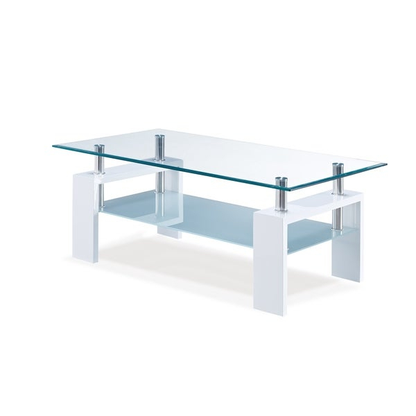 Global Furniture Glossy White Wood And Glass Coffee Table In Finbar Modern Rectangle Glass Coffee Tables (View 17 of 25)