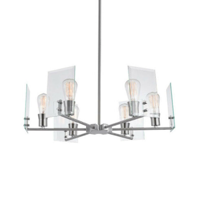 """Globe Electric 60369 Cleve 6 Light 25"""" Wide Chandelier – Brushed Nickel Pertaining To Joon 6 Light Globe Chandeliers (Image 9 of 20)"""
