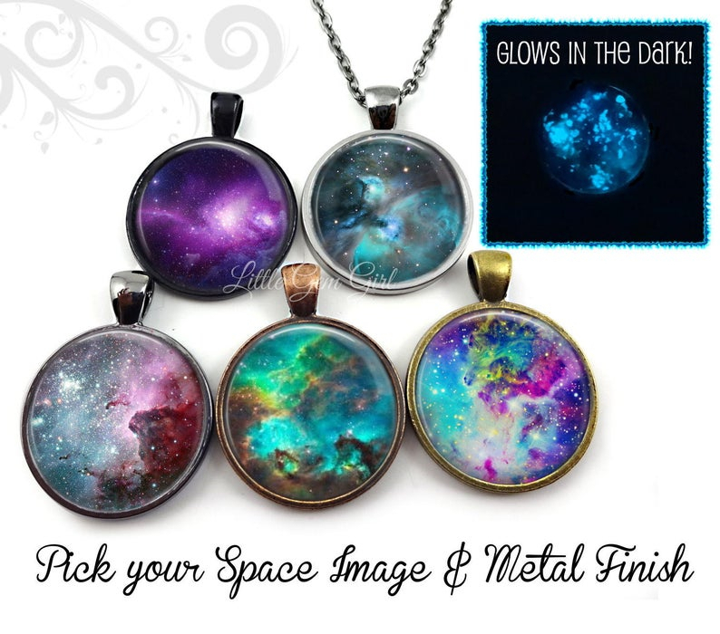 Glow In The Dark Galaxy Necklace – Nebula Necklace Galaxy Pendant – 23 Space Images Available – Glowing Stars Necklace Glowing Galaxy Charm For Schutt 5 Light Cluster Pendants (View 21 of 25)