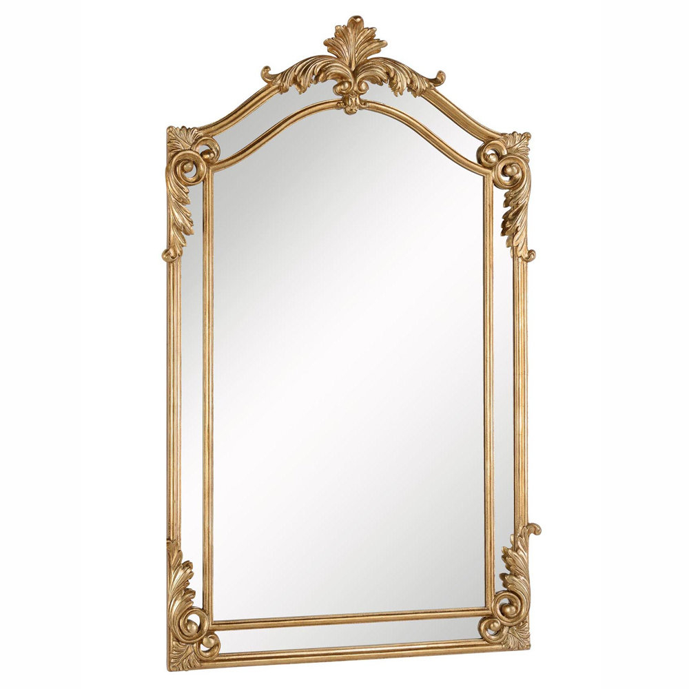 Gold Arch/crowned Top Wood Traditional Beveled Wall Mirror Throughout Gold Arch Wall Mirrors (View 5 of 20)