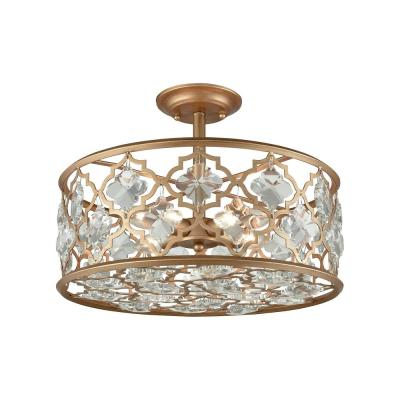 Gold – Brass – Chandeliers – Lighting – The Home Depot Within Armande 4 Light Lantern Drum Pendants (View 19 of 25)