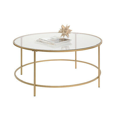 Gold Finish Round Coffee Table Tempered Glass Top Metal Frame Home Office Table 42666036252 | Ebay In Elowen Round Glass Coffee Tables (View 25 of 25)