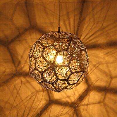Gold Geometric Globe Hanging Pendant Lights Hollowed Out Suspended Lamp  Kitchen Within 1 Light Geometric Globe Pendants (Image 16 of 25)