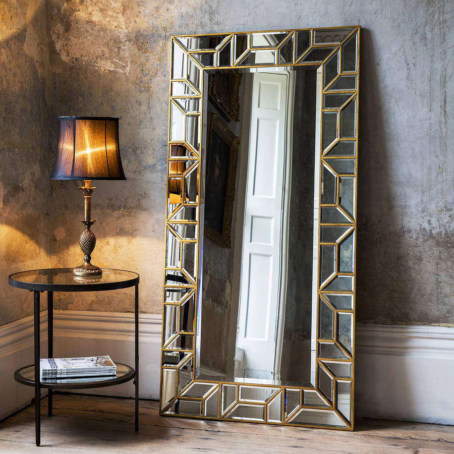 Gold Mosaic Leaner Mirror Throughout Leaning Mirrors (View 20 of 20)