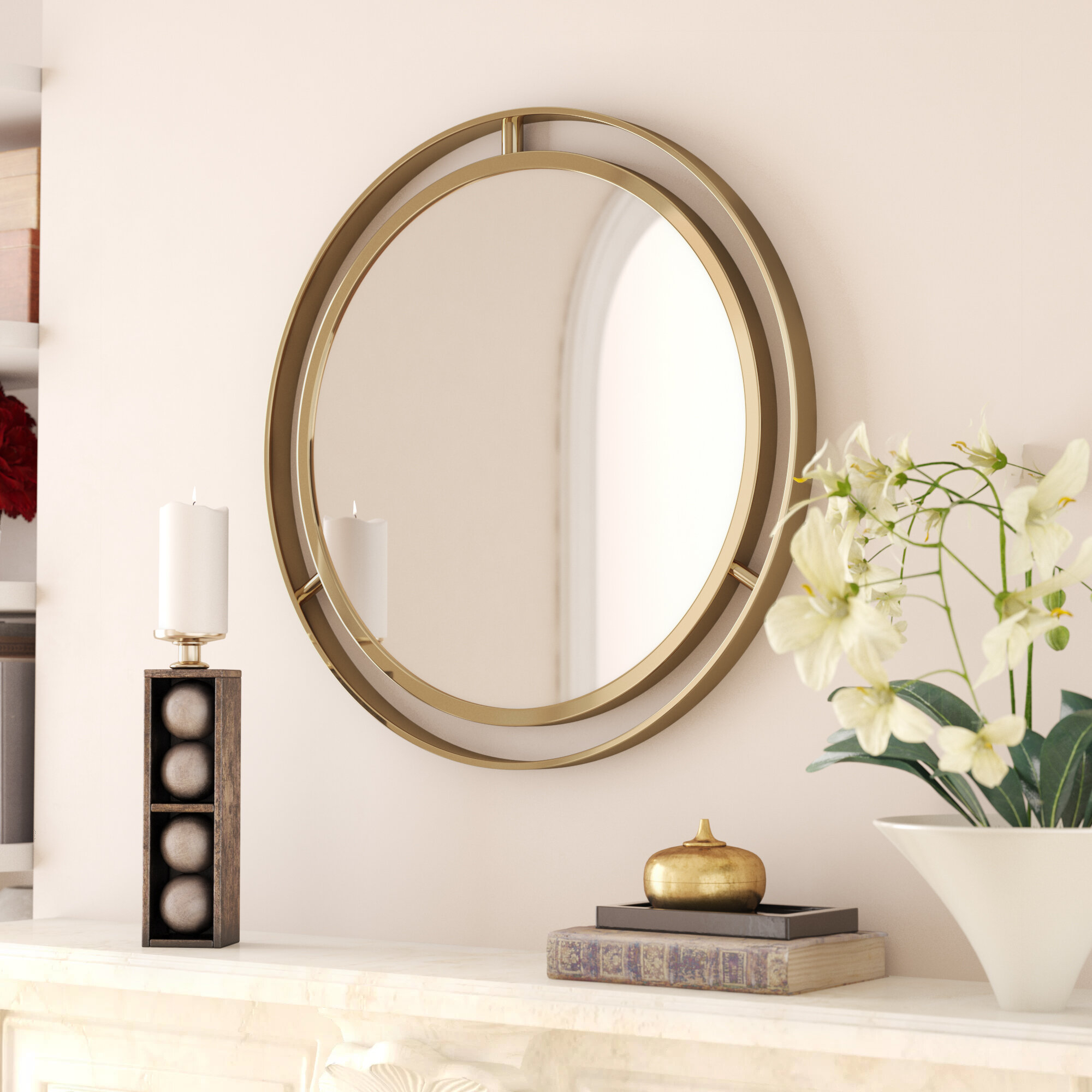 Gold Round Mirrors You'll Love In 2019 | Wayfair In Harbert Modern And Contemporary Distressed Accent Mirrors (Image 6 of 20)