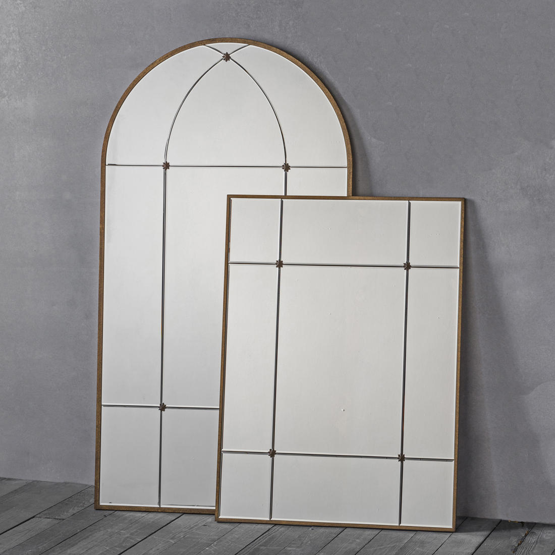 Gold Window Wall Mirror – Arch Or Rectangle Throughout Wall Mirrors (Image 9 of 20)